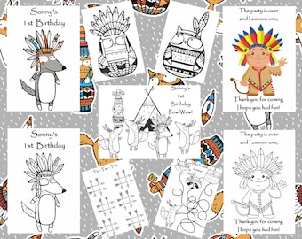 Customized Tribal / Pow-Wow Party Favor Coloring Books SENT BY EMAIL - Personalized Just for You!