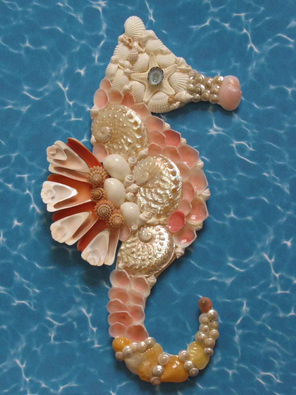 Seahorse Wall Decor Seahorse Shell Art Beach Decor Coastal