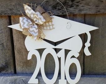 2016 Graduation Door Hanger - Painted Graduate Wreath - Graduation Party Decor