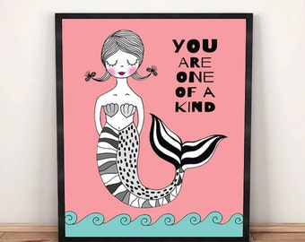 You are one of a kind mermaid nursery PRINTABLE, mermaid wall art, mermaid print, nursery wall quote