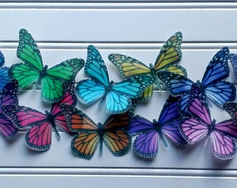 Edible Rainbow Monarch butterflies /12 Cake & Cupcake Toppers