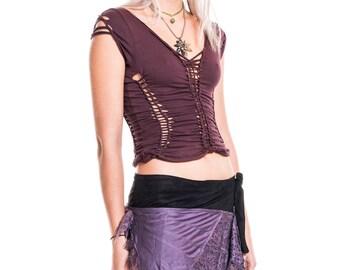 LACE PIXIE SKIRT, psy trance clothing, festival miniskirt, lilac tribal skirt, doof, boho, elf, psytrance, ragged, asymmetrical, emo skirt