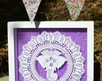 Handcut Elephant Ganesh/Ganesha Hindu Spiritual Mandala Papercut ~ One-off ~ Framed Wall Art