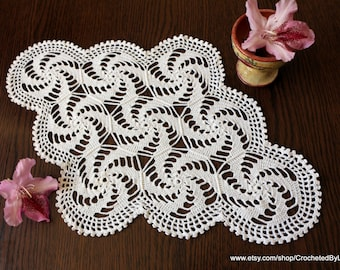 White Lace Crochet Doilie - Oval Doily - Table Topper - Shabby Chic - Crochet Home Decor - Table Centerpiece - Crochet Gift - Ready to Ship