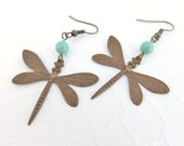 Dragonfly Jewelry - Vintage Patina Brass Dragonfly Earrings, Big Dragonfly Earrings, Big Earrings, Bohemian Jewelry, Insect Earrings, Boho