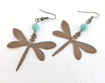 Big Dragonfly Earrings + Swarovski Crystal Pearls - Vintage Patina Brass, Dragonfly Jewelry, Big Earrings, Bohemian Jewelry, Hippie Earrings