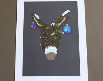 SALE! LAST CHANCE Signed Print of Bonnie Christmas Donkey (A3 size)