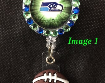 Seattle Seahawks Retractable I.D. Badge Holder, ID Badge Holder, Nurse Badge Reel, Name Badge Reel, Name Badge Holder, ID Badge Reel