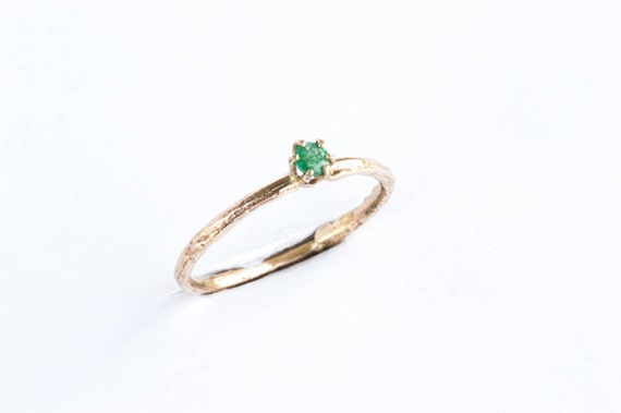 Emerald 14k yellow gold twig ring, emerald twig engagement ring, gold twig ring