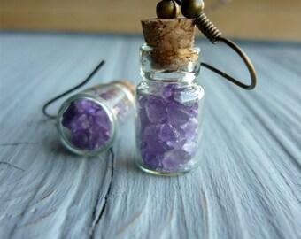 Amethyst earrings Bottle earrings Dangle earrings Bottle jewelry Everyday earrings Amethyst stone earrings Purple earrings Tiny earrings