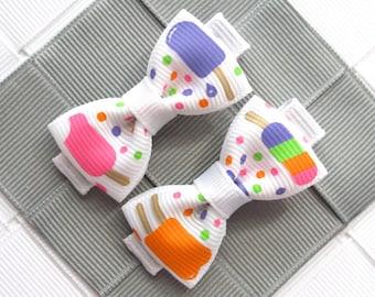 "Popsicle Hair Bow Set ~ 1.5"" Hair Bows ~ Infant Alligator Clip ~ Hairbow ~ Toddler Bows ~ Little Barrette ~ Baby Hair Clip ~ Mini Hair Bows"