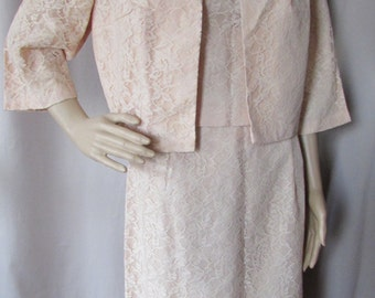 SALE! 1960 Ladies Suit Lace Ladies Suit Peach Lace Sears Fashions Vintage Fashions Mid Century Suit Three Piece Outfit