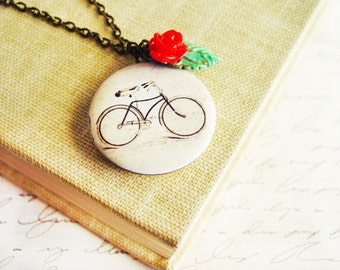 Vintage-Inspired Bicycle Locket Necklace, Round Photo Locket with Red Rose and Green Patina Leaf Charm, French Bicycle Necklace