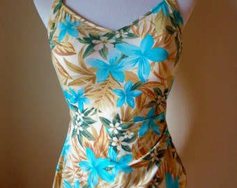 Vintage Swimsuit/Pin UP Swimsuit/Hawaiian Swimsuit/50s Swimsuit/One Piece Bathing Suit/Sarong Swimsuit/Skirted Swimsuit/Playsuit Size Small