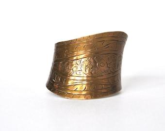 Vintage Asymmetrical Etched Brass Cuff Bracelet