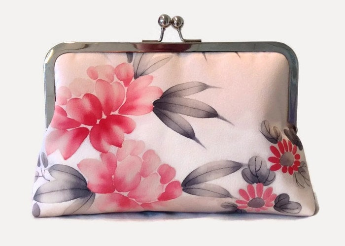 Floral Silk Clutch Purse Pink Clutch Bag By SimplySilkScarves