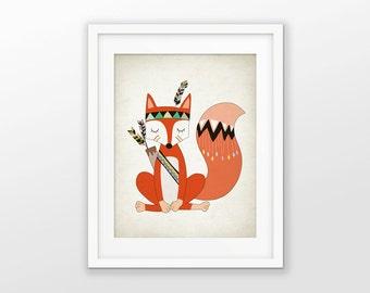 tribal raccoon nursery decor print funky by fineartgiftshop