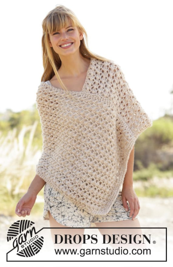 Knitting Pattern For Summer Poncho : Knitted summer poncho poncho summer poncho knit poncho