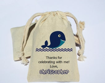 Whale Birthday Party Cotton Muslin Bag - Party Favor Bag - Preppy Whale Party bag