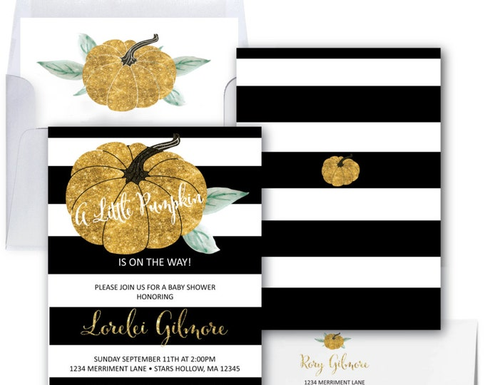 Pumpkin Baby Shower Invitation // Gold Glitter // Little Pumpkin // Black and White // Watercolor // Stripes // STARS HOLLOW COLLECTION