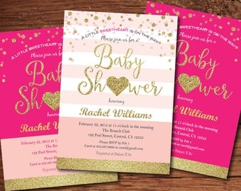 Valentine baby shower invitation. Pink and gold glitter heart baby shower invitation Little sweetheart baby girl shower digital invite VB001
