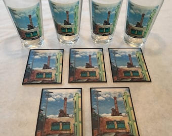 Kalamazoo Gibson Smokestack Pint Glasses(4) and Coasters(5)
