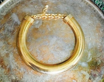 Gold Snake Collar Necklace