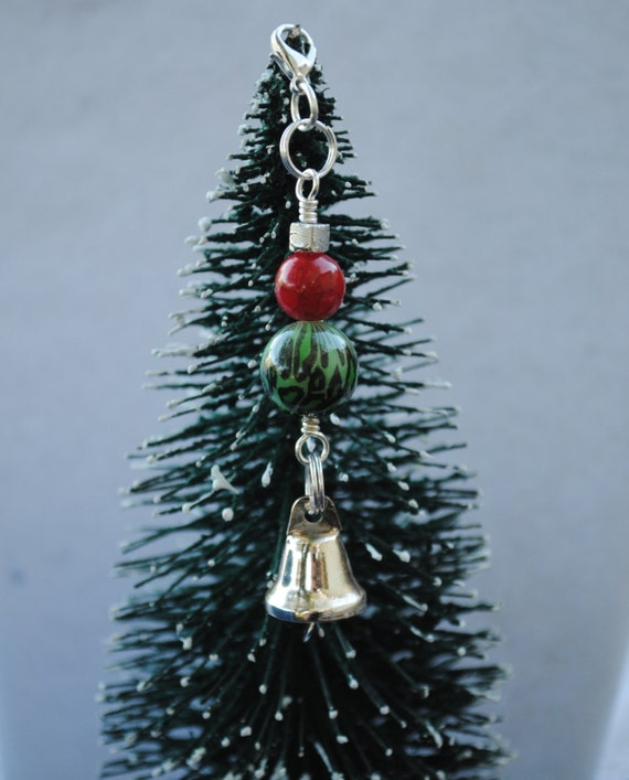 Silver bell christmas ornament charm