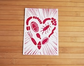 Microbiology science postcard - heart of bacteria linocut print