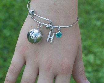 Little Girl's Secret Message Bangle Bracelet in stainless steel.   Little girls jewelry.  Little girls bracelet.  Secret Message.