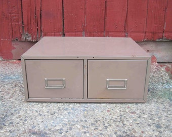 On Sale,Vintage Metal 2 Drawer File Cabinet,Light Brown Color,Card Cabinet,Industrial