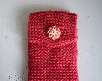 Knitted Phone Case, Knit Smartphone Case, Coral Phone Case, Knitted iPhone Case, Knit Phone Holder, Electronic Accessory