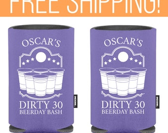 Birthday Day Party KOOZIE ® - Dirty Thirty Funny Koozie ® - Bachelor and Bachelorette Party Theme Can Koozies ® - Personalized Beer Koozie ®