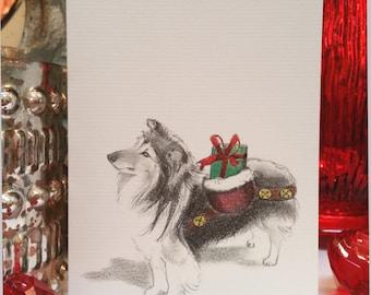 Sheltie Dog Holiday Card