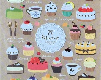 Sweet dessert sticker,cake,cupcake,craft supply,scrapbook supply,diary sticker,colorful sticker