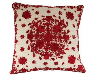 """Moroccan Rose Pillow Cover, Red Rose Pillow, Embroidered Cushion, Cream and Red Cushion Cover, Boho Cushion, Decorative Cushion 18x18"""""""