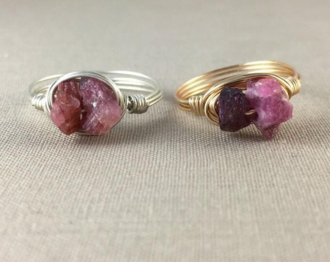 Raw Pink Tourmaline Ring // raw gemstone ring, raw crystal ring, raw tourmaline, wire wrapped ring, bohemian jewelry, jewelry under 25