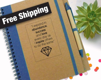 Free Shipping, Quote Notebook Journal, To Do List Notebook, Thoughts Journal, Personal Travel Journal, Cardboard Writing Pad, Gift Notebook