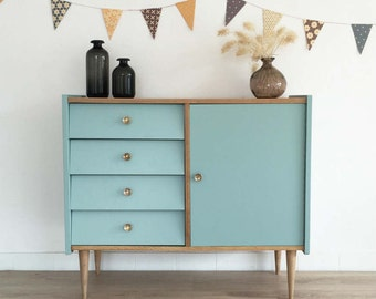 SOLD OUT - Chest of drawers, dresser, mid century modern, cabinet, vintage, 60's, ice blue color, model Adèle