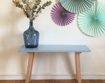 Mid century modern bench, Scandinavian, seat, wood, bleu colors, Donatien model