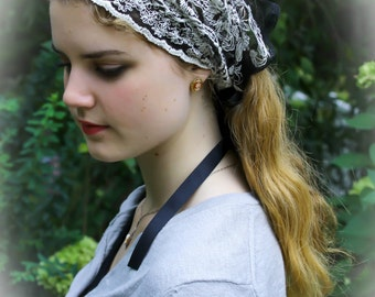 Evintage Veils~St. Scholastica  Headwrap Black/Ivory Embroidered  Lace Headband Kerchief Tie-style Head Covering Church Veil