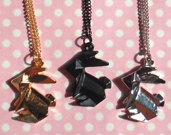 Kawaii origami bunny necklace in gold silver or black
