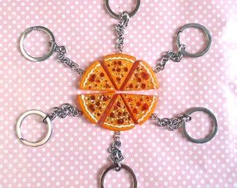 Pepperoni pizza friendship keychain
