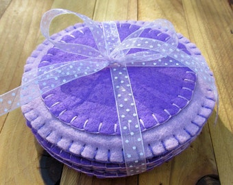 Round Wool Felt Coasters Set in Periwinkle & Purple