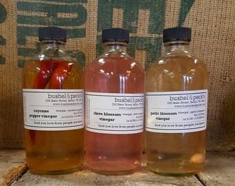 Small Batch Handmade Infused Culinary Vinegar Trio: Chive Blossom, Cayenne Pepper, Garlic Blossom - Super Foodie Gift