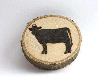 Handmade, Personalized Wood burned Cow Magnet or Ornament
