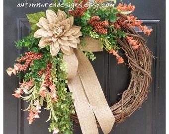 DOOR wreath, Wildflower Wreath, Burlap and Orange Wreath, Orange Berry Wreath, Wreath, Autumn Wreath, Front Door Wreath
