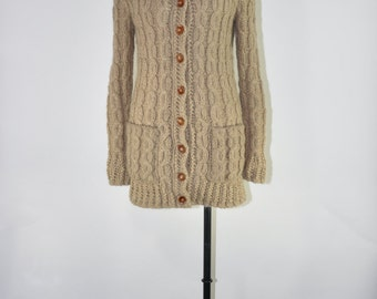 handknit fisherman cardigan / cable knit sweater coat / natural wool chunky cardigan