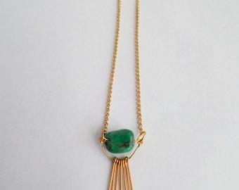 Turquoise and Fringe Necklace