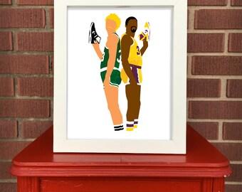 Magic Johnson & Larry Bird print, Digital Illustration, Pop culture print, Sports art, 8x10, LA Lakers Boston Celtics, Converse Weapon,